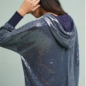 Anthropologie Navy Sequin Hoodie Size Small